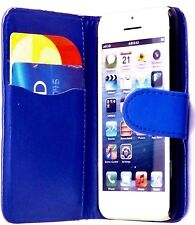 BLUE Plain Wallets Case Cover with Card Slots and clip for Apple iPhone 4/4S