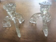 Vintage Mid Century Pair Sputnik Style Pressed Glass Candlesticks Candle Holders