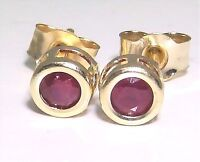 Beautiful 9ct 9 Carat Yellow Gold Ruby Solitaire Stud Earrings