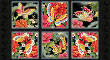 Butterfly Fantasy Red Printed Cotton Fabric Panel Kona Bay FANT 01 Red