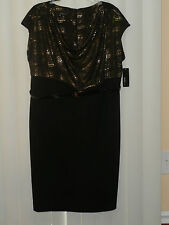 Alyx- Womens Cowl-neck Belted Dress,  Plus-size: 14W , Black& w/ Gold nuggets