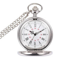 Vintage Silver Quartz Pocket Watch Mirror Glass Finish Covered With Chain Gift
