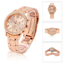 Geneva Crystal Lady Women Men Stainless Steel Quartz Dress Bracelet Wrist Watch