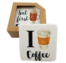 Drink Coasters Coffee Lover Resin Cork Back Dining Kitchen *Set of 4 Assorted*