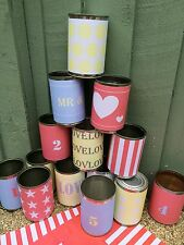 Wedding car tin can labels, set of 14 paper labels, Carnival wedding decoration