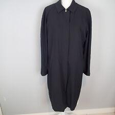 Vintage Womens Burberry London Black Wool Long Coat REMOVABLE Lining Sz 12