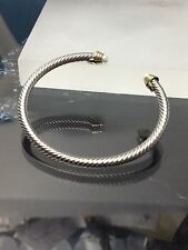 Silver Gold Finish  WHITE  PEARL  Stone   Designer Inspired   Open Cuff Bracelet