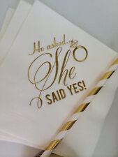 Engagement Party Bridal Shower Gold Foil Cocktail Beverage Wedding Napkin