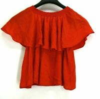 Show Me Your MuMu Women's Small Off The Shoulder Red Ruffle Blouse Top