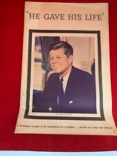 VINTAGE 1963 JOHN F. KENNEDY HE GAVE HIS LIFE NASHVILLE TENNESSEAN EXCERPTS
