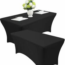2pk Black Banquet Rectangle Table Covers 6ft Spandex Wedding Quinceaneras Party