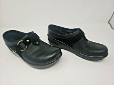 Born Womens Black Leather Slip On Clogs Size 8.5M