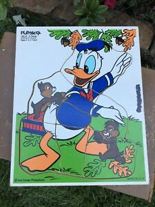 VTG Playskool Puzzle Disney Donald Duck Chip Dale 190-02  wooden tray 🧩