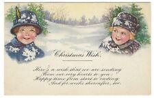 Vtg CHRISTMAS Unposted POSTCARD Blank GARTNER BENDER Chicago Girls Children card