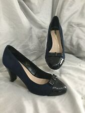 DOROTHY PERKINS navy blue bow front heeled shoes size 6
