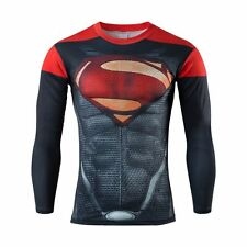 Mens long sleeve compression top gym superman avengers marvel muscle present