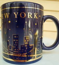 KOBALT NEW YORK CITY SKY LINE AT NIGHT GOLD LETTERING 11 OZ COFFEE MUG STARS