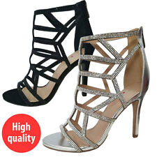 Women Rhinestones Evening Prom Party Wedding Platform Black Silver High Heels