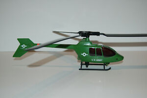VINTAGE US ARMY GREEN HELICOPTER 19874 PLASTIC TOY MADE IN CHINA BLADES ROTATE