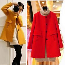 Las mujeres delgado engrosamiento capa Trench chaqueta lana moda capa O cuello