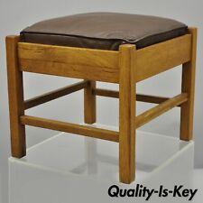 Lifetime Furniture 403 Mission Oak Arts&Crafts Leather Ottoman Stool Footstool B