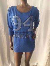 Divided by H&M Women studded / rhinestone Shirt Top # 94 ~ Blue ~ Sz 4 ~ CUTE!!!