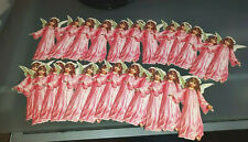 24 OLD PRINT FACTORY VICTORIAN PINK CHRISTMAS ANGELS PAPER DIE CUT GIFT TAG LOT