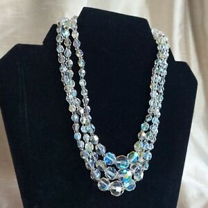 VINTAGE AB Aurora Borealis Triple Strand Crystal Necklace With Attractive Clasp.