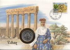 superbe enveloppe LIBAN LIBANON pièce monnaie 1 LIVRE 1981 UNC NEW timbre bziza