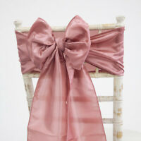 TAFFETA CHAIR BOW SASH / MATCHING TABLE RUNNER WEDDING DECOR 55 COLOURS