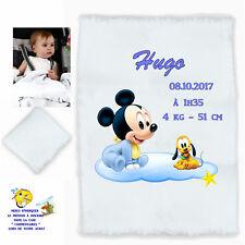 plaid couverture bébé personnalisé cadeau naissance prenom texte choix réf 05