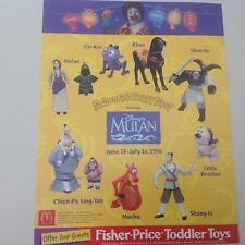 1998 McDonalds Disney Mulan Happy Meal MIP Complete Set Lot of 8