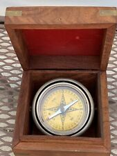 Vintage Nautical Compass in wood box - Top warped / light wear