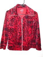 STYLE & CO. PETITE SPORT women's red floral print velour zip front jacket size P