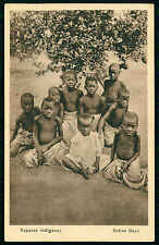 NATIVE BOYS semi nude ethnic Tribe. Old vtg Postcard ANGOLA AFRICA