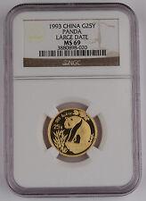 1993 China 25 Yuan 1/4 Troy Oz 999 Gold Panda Coin NGC MS69 Large Date LD GEM BU