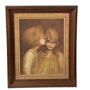 """Margaret Kane """"First Kiss"""" Framed Print Vintage Signed 20.5"""" X 17"""" Big Eyes"""