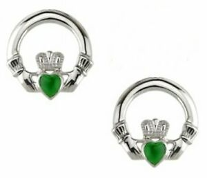 NEW Silver and Green Agate Celtic Irish Claddagh Stud Earrings Jewellery