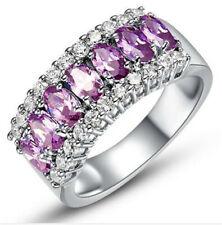 Fashion NEW Women Purple Gemstone Crystal Silver Wedding Ring Jewelry Size 7