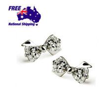 925 Sterling Silver Cutie Crystal Bow Butterfly Earrings Studs