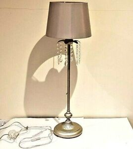 Floor lamp small with crystal hanging around shade
