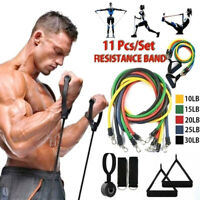 11Pcs Set Resistance Bands Workout Exercise Yoga Fitness Training Tubes