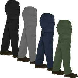 Mens Lightweight Elasticated Waist Cargo Trousers Combat Work Pants Bottoms New