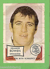 1970 SCANLENS RUGBY LEAGUE MINI POSTER - GRAHAME BOWEN, ST GEORGE DRAGONS