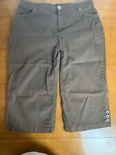 Multiples Ladies Stretch Cropped Capri Pants Size 14 Brown Side Zipper