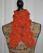 Beautiful Pumpkin Queen Anne's Lace Handmade Crochet Scarf