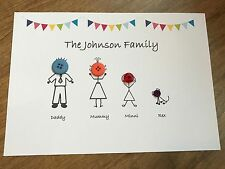Family Tree personalised print - buttons bespoke gift bunting stickman