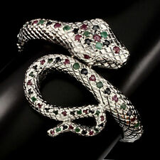 Sterling Silver 925 Snake Design Emerald, Sapphire & Pink Ruby Bangle 6 Inch