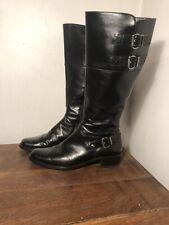 """Paul Green Munchen Womens Noah Black Riding Boots Side Zip Buckles 9M Heel 1.5"""""""