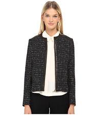 NWT $498 Kate Spade Woodland Tweed Gold Zip Front Jacket Black Leather Trim Sz 2